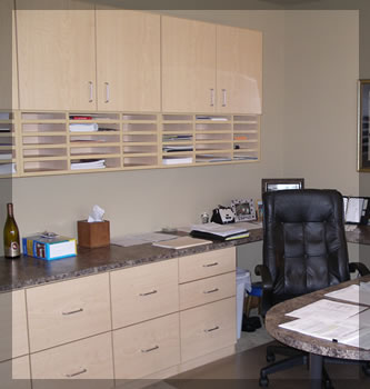 Home office custom desks and shelving systems